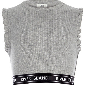 Girls grey ribbed frill sleeve crop top
