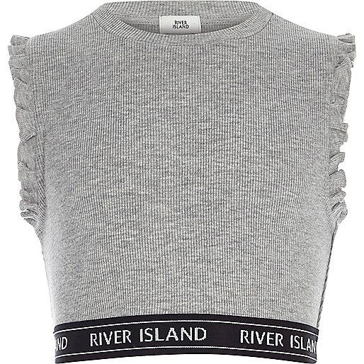 Girls grey ribbed frill sleeve crop top
