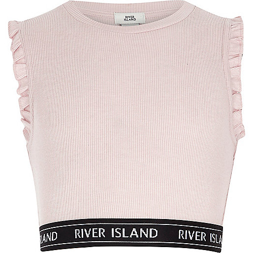 Girls light pink ribbed frill sleeve crop top