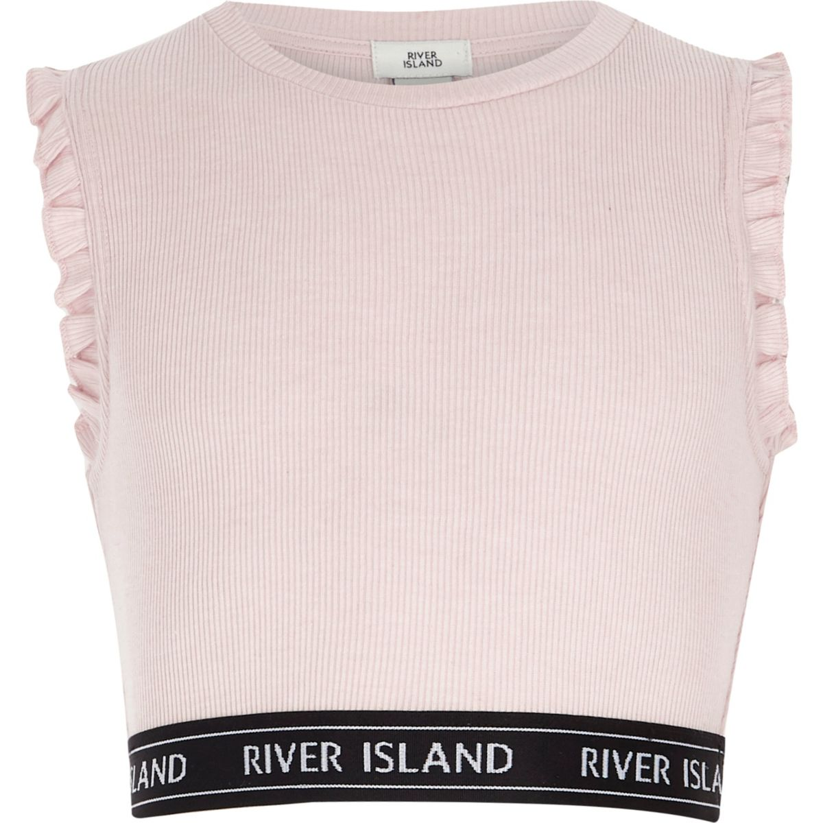 Girls light pink ribbed frill sleeve crop top