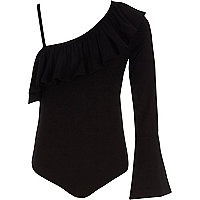 Girls black one shoulder frill bodysuit