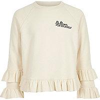 Girls cream 'believe' ruffle sweatshirt