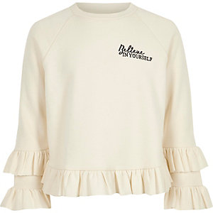 Girls cream 'believe' ruffle sweatshirt
