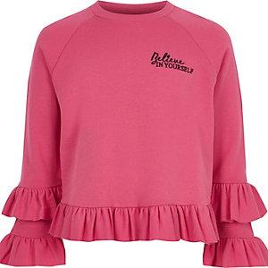 Girls pink 'believe' ruffle jumper