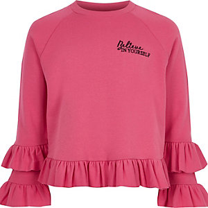 Girls pink 'believe' ruffle jumper