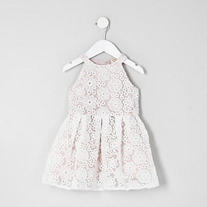 Mini girls white lace prom dress