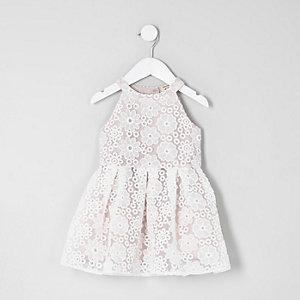 Robe de gala en dentelle blanche mini fille