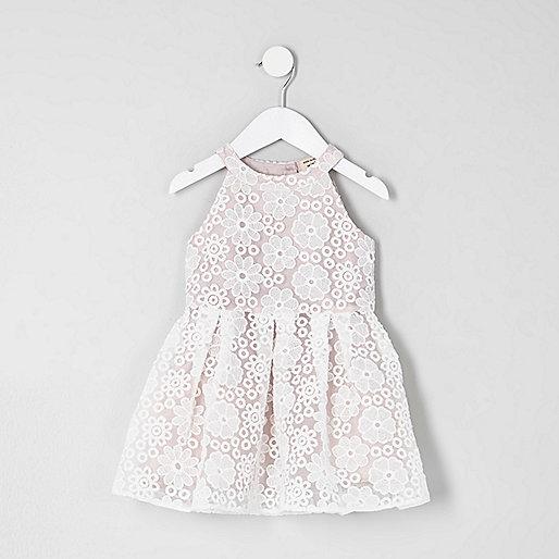 Mini girls white lace prom dress