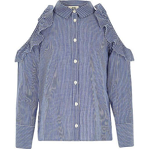 Girls blue stripe cold shoulder frill shirt