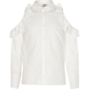 Girls white frill cold shoulder shirt