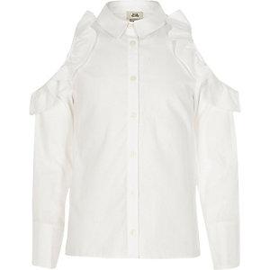 Chemise blanche à épaules dénudées et volants pour fille