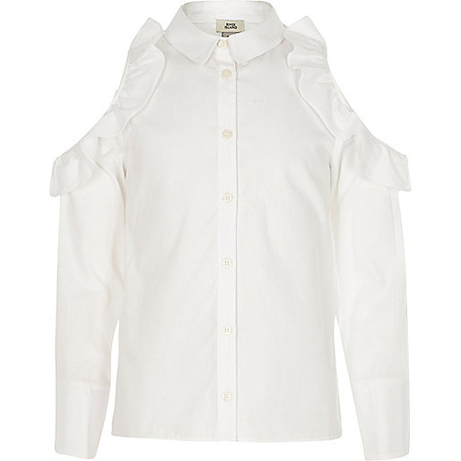 Girls white frill cold shoulder shirt