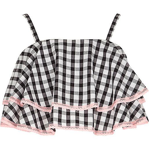 Girls black gingham print frill cami crop top