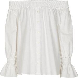 Girls white long sleeve bardot shirt