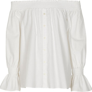 Girls white long sleeve bardot shirt