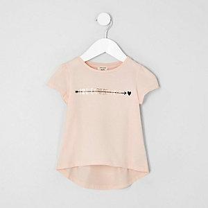 Mini - Roze T-shirt met folieprint voor meisjes