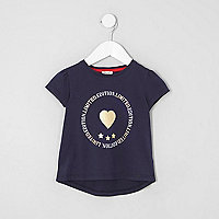 Mini girls navy foil print T-shirt