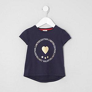 Mini - Marineblauw T-shirt met folieprint voor meisjes
