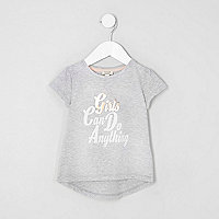 Mini girls grey 'girls' print T-shirt