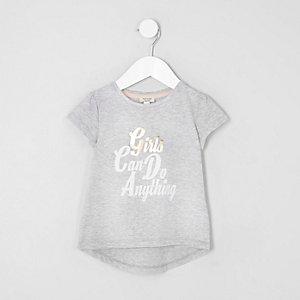 Mini - Grijs T-shirt met 'girls'-print voor meisjes