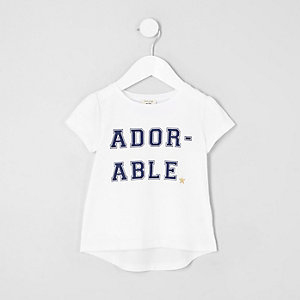Mini girls white 'adorable' print T-shirt