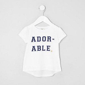 Mini - Wit T-shirt met 'adorable'-print voor meisjes