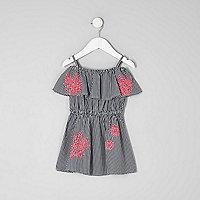 Mini girls gingham embroidered bardot dress