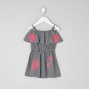 Mini girls gingham embroidered bardot dress