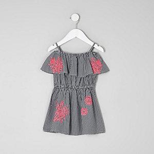 Robe Bardot imprimé vichy brodée mini fille