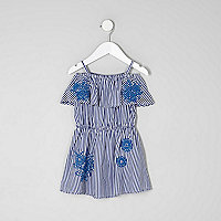 Mini girls blue stripe print bardot dress