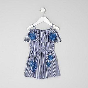 Robe Bardot imprimé rayée bleue mini fille