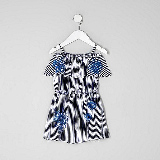 Mini girls blue stripe print bardot dress