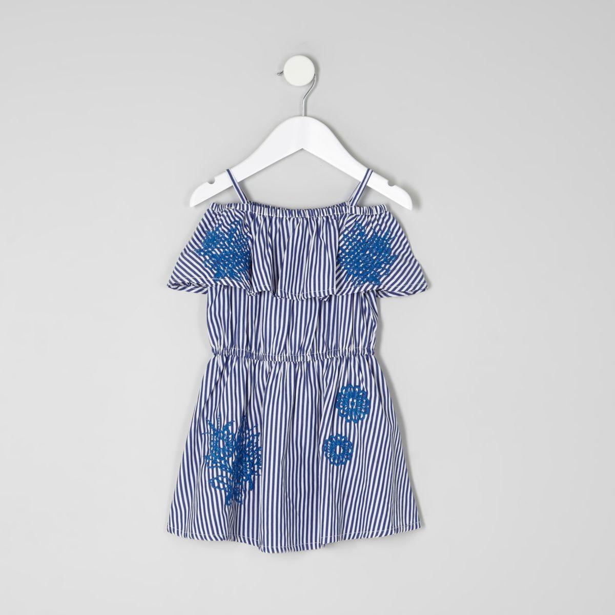 Blaues, gestreiftes Bardot-Kleid