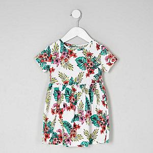 Pinkes, tropisches Kleid mit Rüschen
