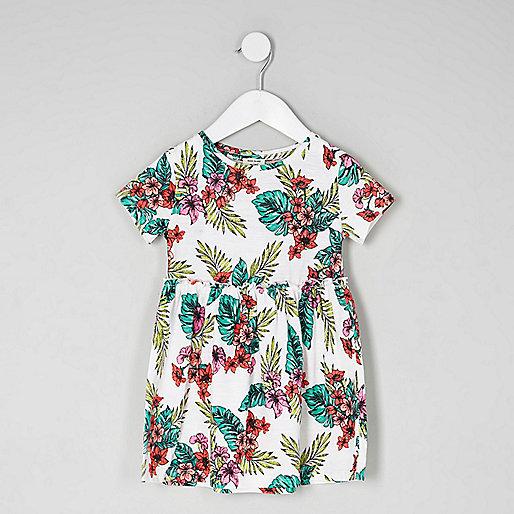 Mini girls pink tropical frill waist dress