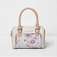 Girls pink floral print bowler bag