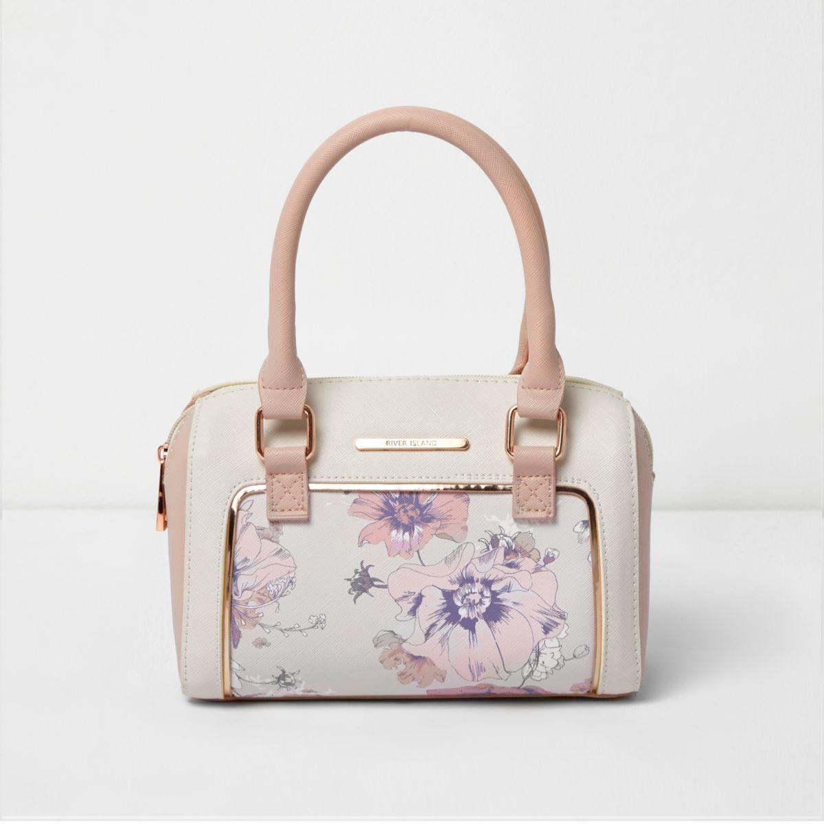 Girls pink floral print bowler bag