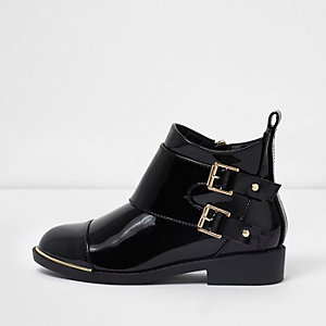 Girls black double buckle flat ankle boots
