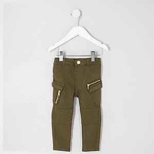 Jean skinny kaki style militaire mini fille