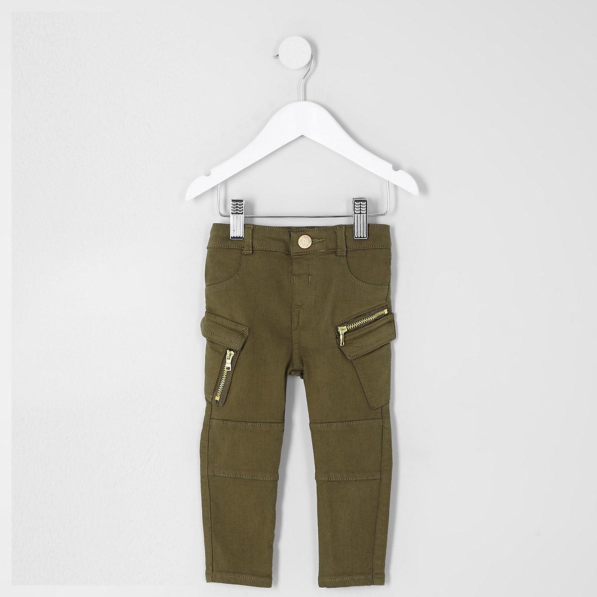 Mini girls khaki combat skinny jeans