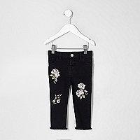 Mini - Amelie - Zwarte jeans met borduursel voor meisjes