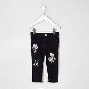 Mini – Amelie – Schwarze, bestickte Jeans für Mädchen