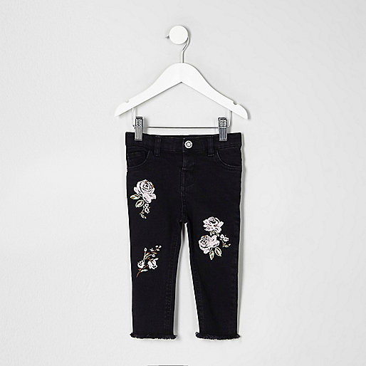 Mini girls black Amelie embroidered jeans