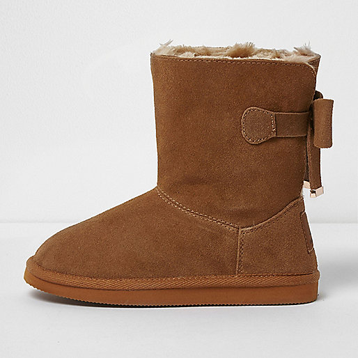 Girls brown suede bow back boots