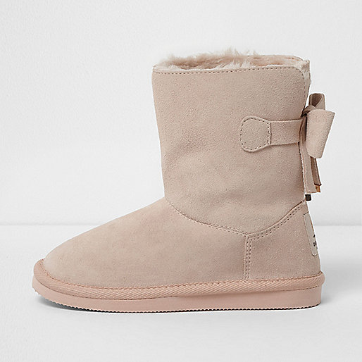 Girls pink faux fur lined suede short boots