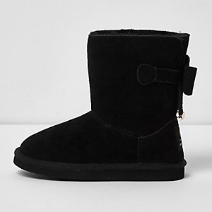 Girls black suede bow back boots
