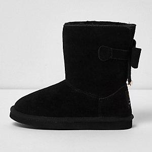 Zwarte suède laarzen met strik achter voor meisjes