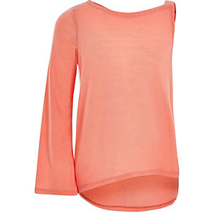 Girls coral flared sleeve asymmetric sweater