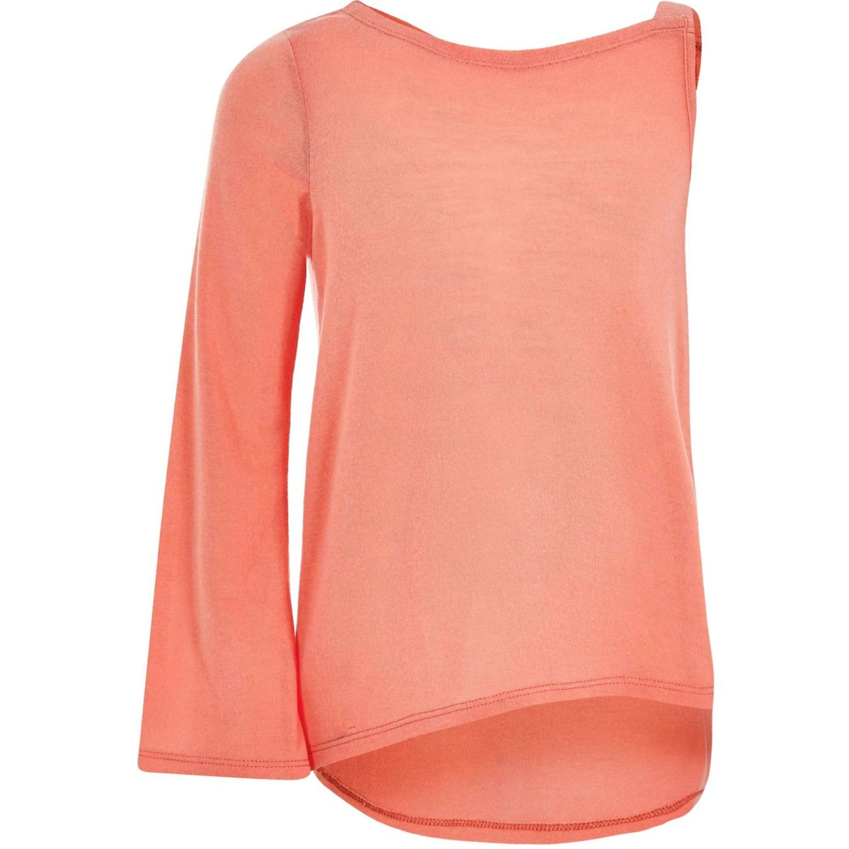 Girls coral flared sleeve asymmetric jumper
