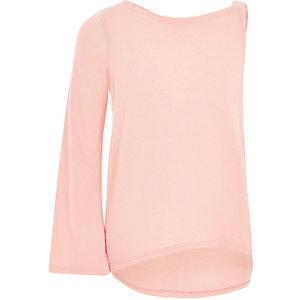 Girls pink flared sleeve asymmetric sweater